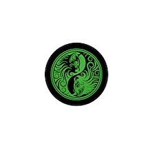 Green and Black Yin Yang Kittens Mini Button