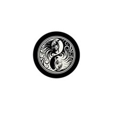 White and Black Yin Yang Kittens Mini Button (100