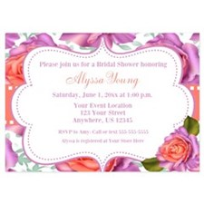 Purple Coral Roses Invitation Invitations