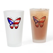 Puerto Rican Flag Butterfly Drinking Glass