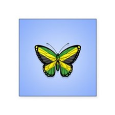 Jamaican Flag Butterfly on Blue Sticker