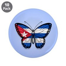 "Cuban Flag Butterfly on Blue 3.5"" Button (10 pack)"