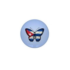 Cuban Flag Butterfly on Blue Mini Button (100 pack