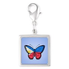 Filipino Flag Butterfly on Blue Charms