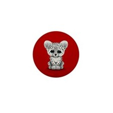 Cute Baby Snow Leopard Cub on Red Mini Button (100