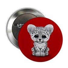 "Cute Baby Snow Leopard Cub on Red 2.25"" Button"