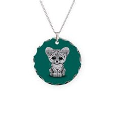 Cute Baby Snow Leopard Cub on Teal Blue Necklace