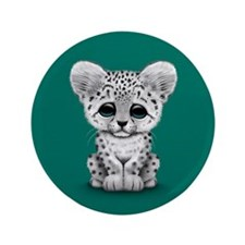 "Cute Baby Snow Leopard Cub on Teal Blue 3.5"" Butto"
