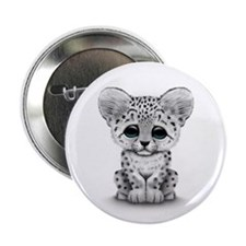 """Cute Baby Snow Leopard Cub on White 2.25"""" Button"""