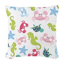 Ocean Babies on White Backgrou Woven Throw Pillow