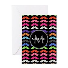 Girly Colorful Mustache Pattern Monogram Greeting