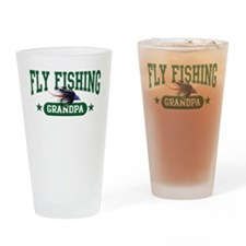 Fly Fishing Grandpa Drinking Glass