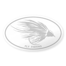 Fly Fishing Gray Oval Decal
