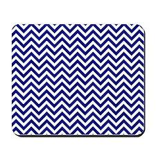 royal blue and white chevron stripe Mousepad