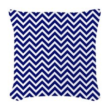 royal blue and white chevron stripe Woven Throw Pi