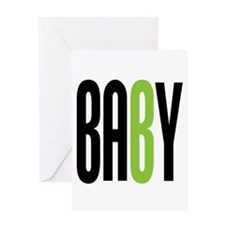 Twin Baby B Green Greeting Card