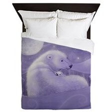 Polar Bear and Cub Wildlife Fantasy Ar Queen Duvet