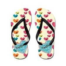 Pretty Girly and Colorful Hearts Flip Flops