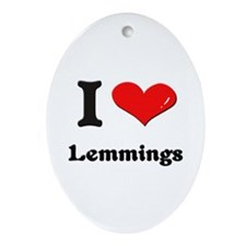 I love lemmings  Oval Ornament