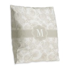 Tan Seashells Monogram Burlap Throw Pillow