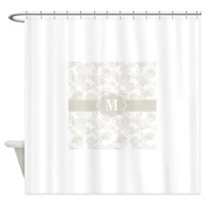 Tan Seashells Monogram Shower Curtain