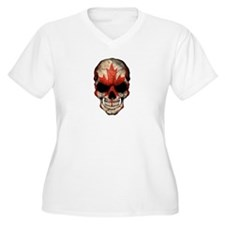 Canadian Flag Skull Plus Size T-Shirt