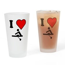 I Heart Rowing Drinking Glass