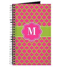 Pink Green Quatrefoil Monogram Journal