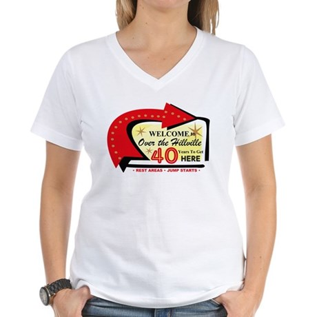 Over the Hillville 40 Women's V-Neck T-Shirt