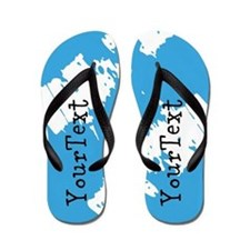 Personalized Abstract Blue Flip Flops