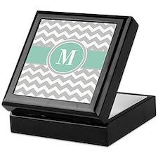 Gray Mint Chevron Monogram Keepsake Box