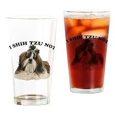 I shit you not Shih Tzu Pun Drinking Glass