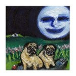 pugs summer night Tile Coaster