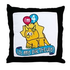 4th Birthday Dinosaur Throw Pillow