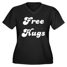 FREE HUGS Women's Plus Size V-Neck Dark T-Shirt