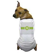 Gray Green Chevron Monogram Dog T-Shirt