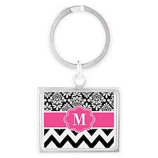 Black Pink Damask Chevron Monogram Keychains