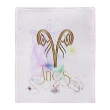 Aries Zodiac Sign Throw Blanket
