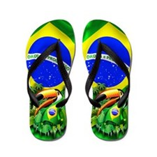 Toco Toucan with Brazil Flag Flip Flops