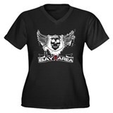 Bay Area Black Skulls Women's Plus Size V-Neck Dar