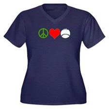 PEACE LOVE B Women's Plus Size V-Neck Dark T-Shirt