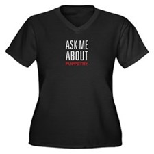 Ask Me About Puppetry Women's Plus Size V-Neck Dar