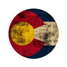 "Grunge Colorado Flag 3.5"" Button (100 pack)"