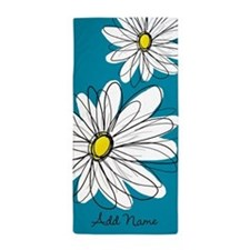 Whimsical Flowers - blue Beach Towel