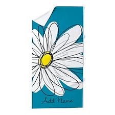 Whimsical Daisy - blue Beach Towel