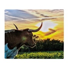 Illuminated Longhorn Sunset Throw Blanket