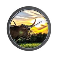Illuminated Longhorn Sunset Wall Clock