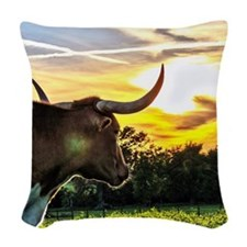 Illuminated Longhorn Sunset Woven Throw Pillow