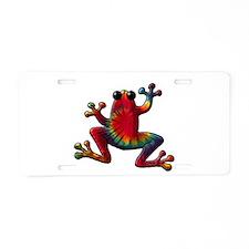 Tie Dye Frog Aluminum License Plate