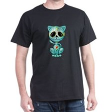 Blue Zombie Sugar Skull Kitten T-Shirt